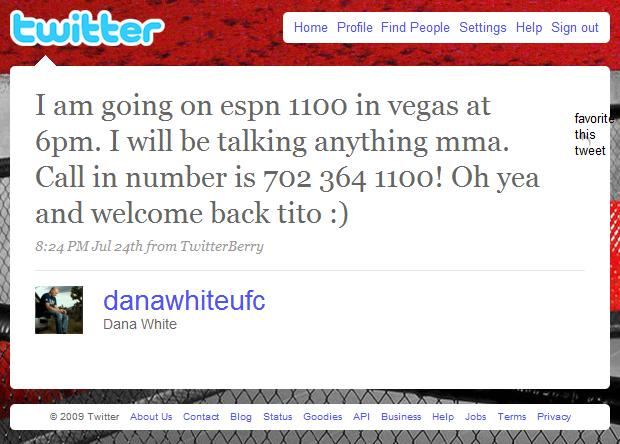 Dana White da as boas-vindas a Tito Ortiz no Twitter